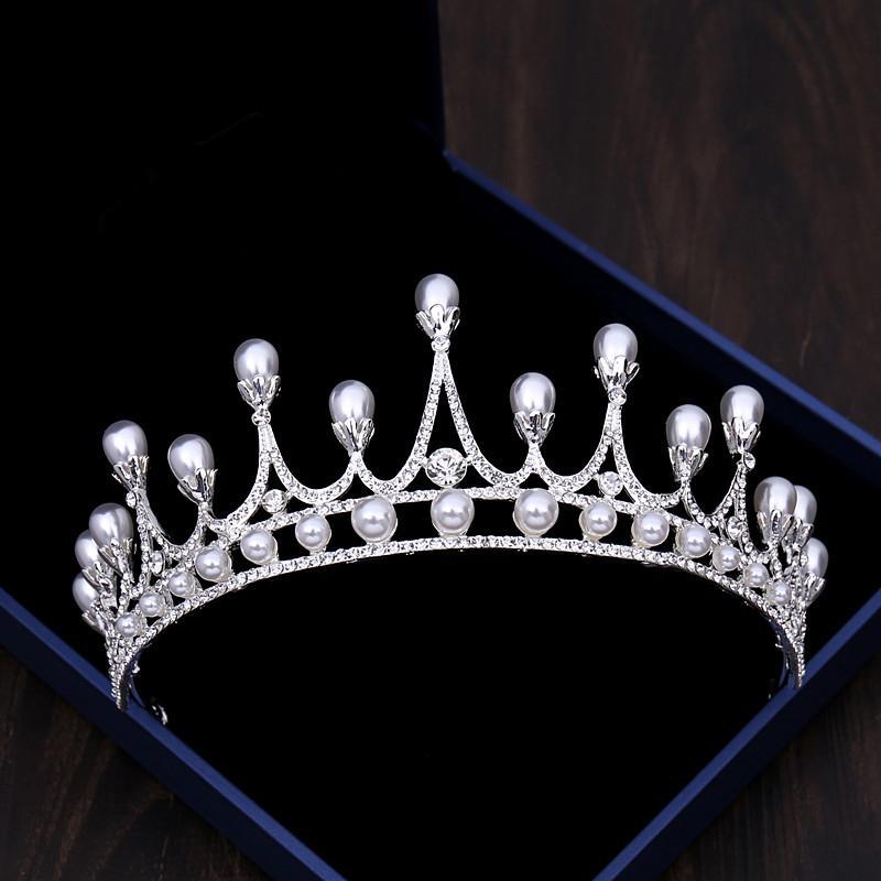 Elegante pérola coroa de noiva para enfeites de cabelo de noiva strass nupcial headband cocar de noiva de cristal tiaras e coroas s533