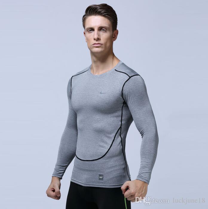 Herren T-Shirt Europe US Laufsportbekleidung schnell trocknendes T-Shirt Sportbekleidung langärmeliges Kompressionstraining Stretch Slim Strumpfhose