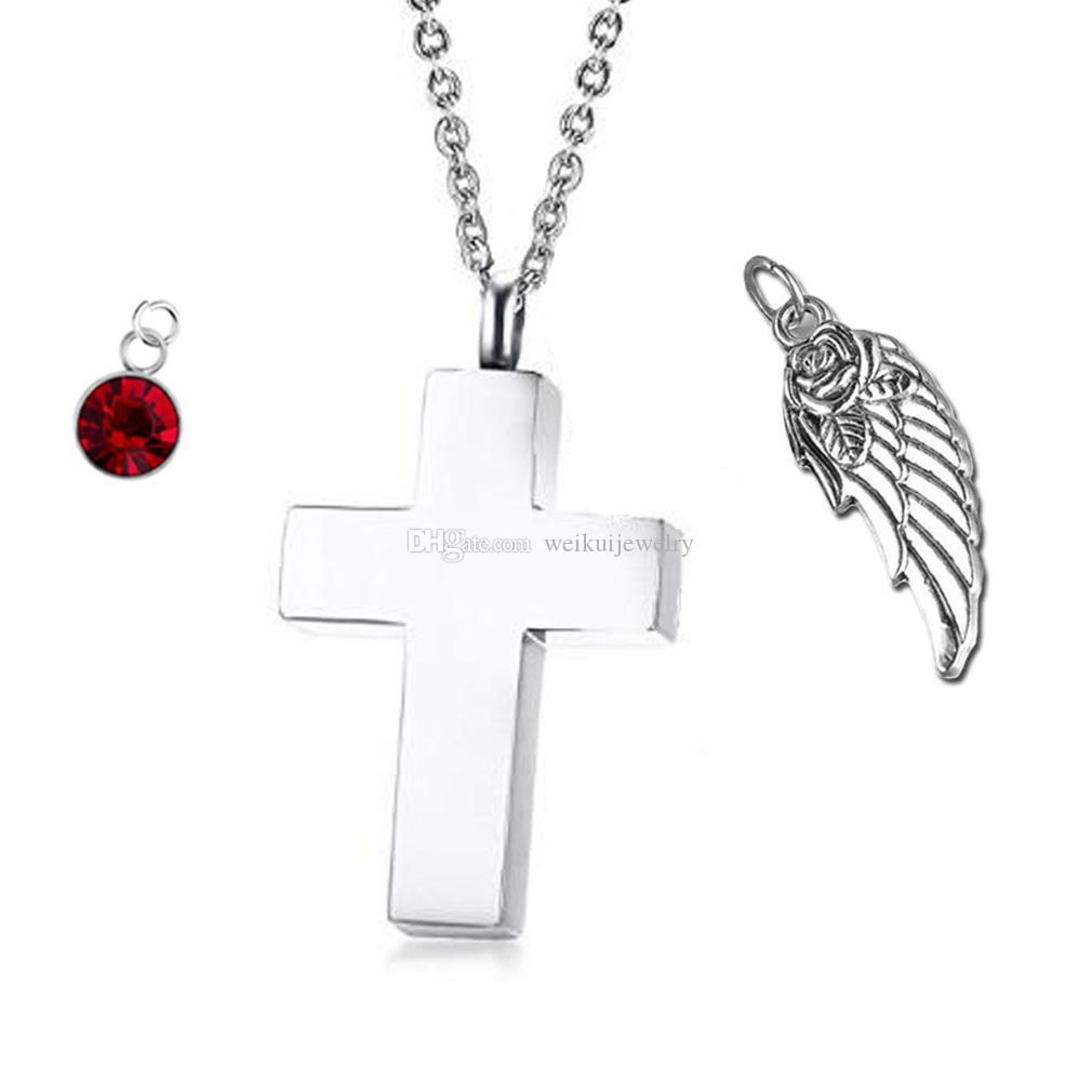 Personalisierte Engelsflügel Kreuz Halskette Birthstone Name Anhänger Feuerbestattung Urne Halskette Custom Schmuck