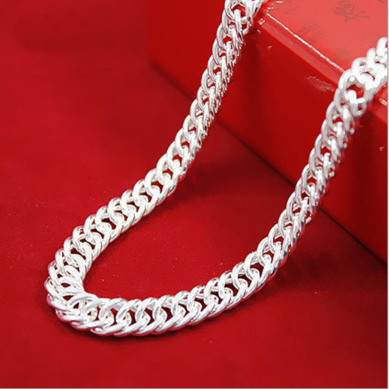 Цепочка из стерлингового серебра 925 пробы сбоку мода серебряные ювелирные изделия ожерелье ювелирные изделия цепочка парень подарок на день рождения подарок на день святого валентина