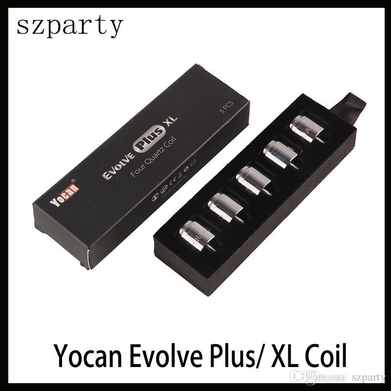 Yocan Evolua Mais XL QUAD Queda Quad Quatz Quatz Rod Bobinas Com Tampa Da Bobina Para Evoluir Além disso XL Dab Pen Kit Frete Grátis