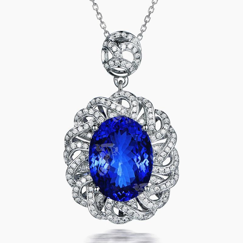여성 화이트 골드 실버 컬러 초커 보석 장식품 빈티지 꽃 블루 크리스탈 사파이어 보석 다이아몬드 펜던트 목걸이