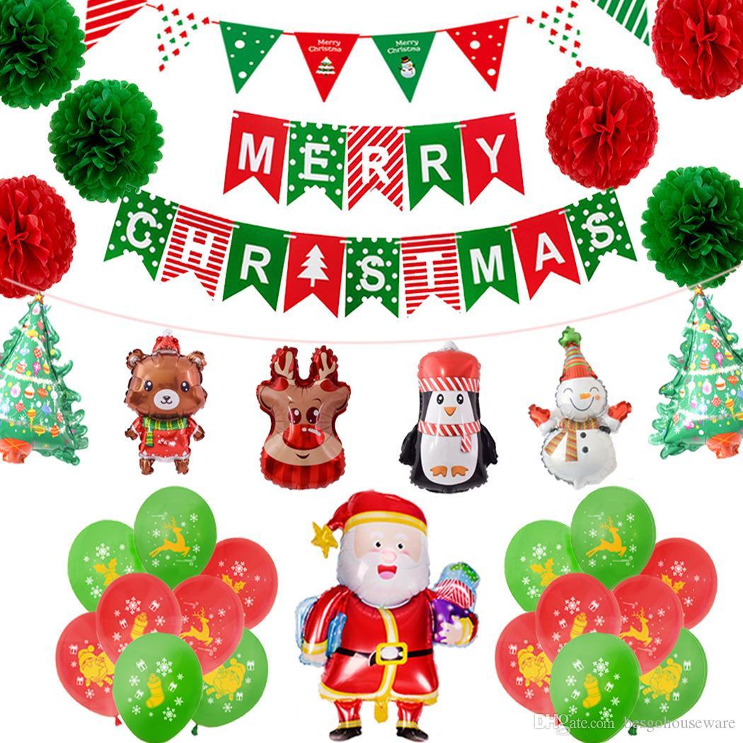 Christmas Decorations Santa Claus Balloon Set Christmas Inflatable Aluminum Foil Balloons Set Merry Christmas Flag Paper Flowers BH0128 TQQ