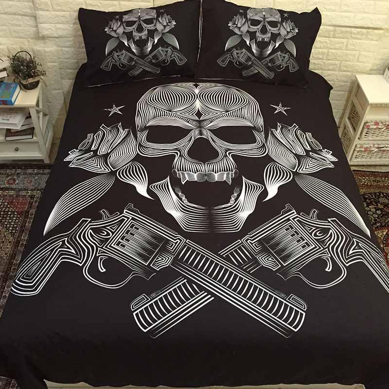 3D 설탕 해골 쿨 침구 이불 침대 커버 수제 침대 덮개 이불 커버 세트 퀸 킹 사이즈 침대 더블 침대 시트를 설정합니다