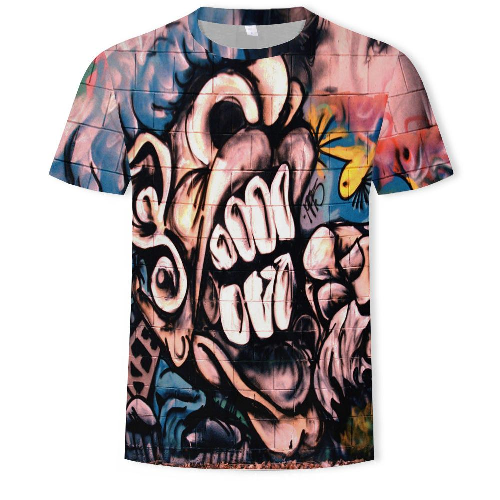 Летняя одежда 2019 мультфильм рисунок тренд номер печати футболка с коротким рукавом с коротким рукавом
