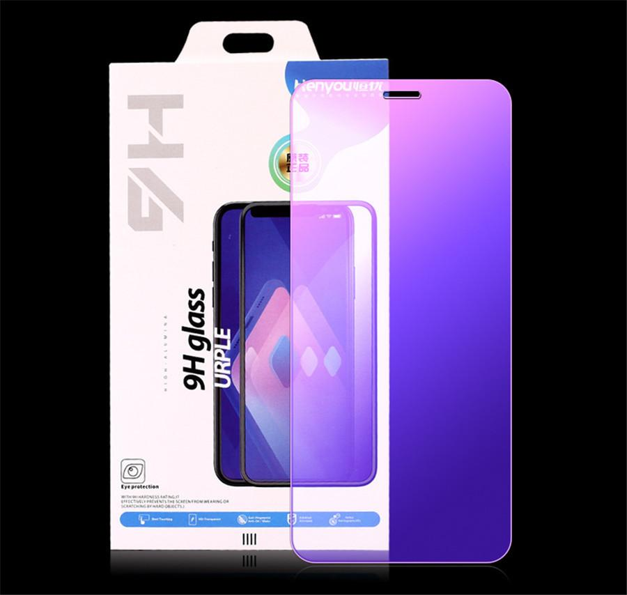 New Fashion Full Front Tempered Glass Blue light resistant film Screen Protector For iPhone 11 11pro 11pro Max X Xr Xs Xs Max 8 7 6 5