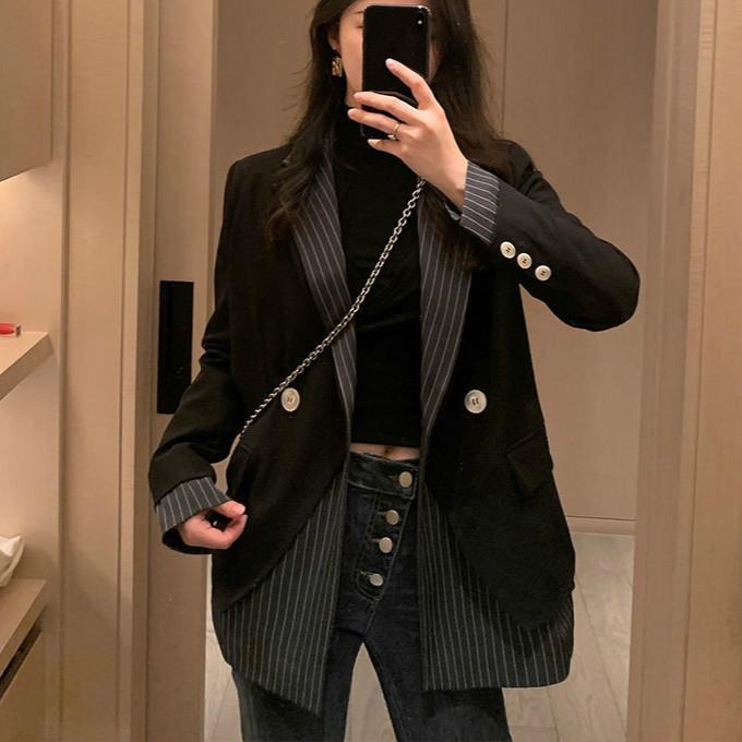 2020 Новый Полосатый Блейзеры Женщины Повседневная С Длинным Рукавом Офис Леди Пальто Одной Пуговицей Зубчатый Плюс Размер Куртка Корея Мода Одежда