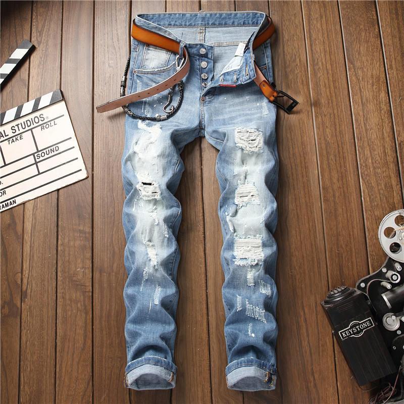 Diseñador de los hombres de moda los pantalones vaqueros Parches agujero lavada bordado blanqueado Distrressed mosca de la cremallera pantalones rectos del dril de algodón Tamaño 28-34