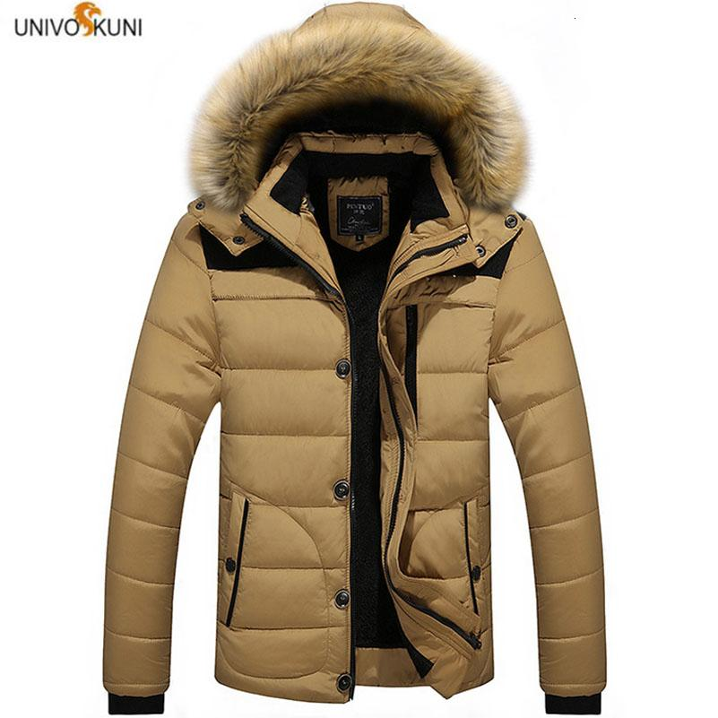 M-6XL Fur Collar Hooded Men Winter Jacket 2019 New Fashion Warm Wool Liner Man Jacket and Coat Windproof Male Parkas casaco H539 T190908