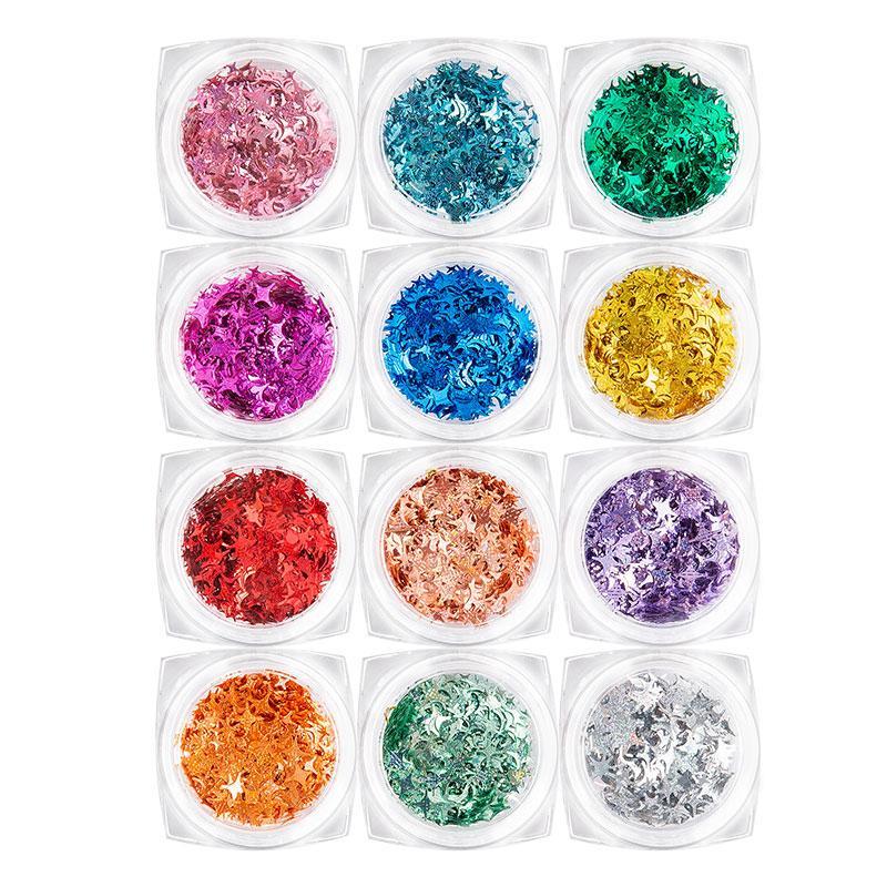 12 Cor Sequins Quatro Ângulo Estrelas Glitter Laser Nail Art Decoração DIY Projeto UV Gel Polish Dicas brilhante 3D Acrílico Manicure Ferramenta