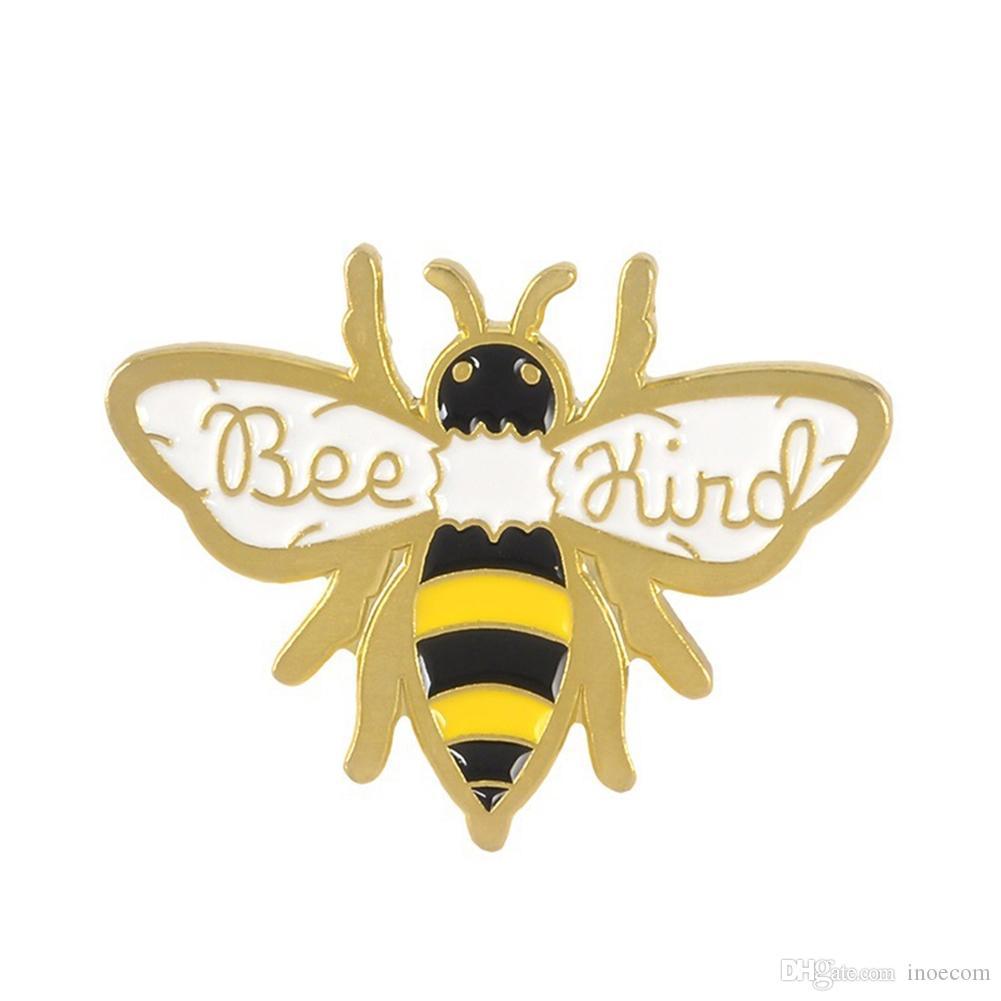 Abeille d'or mignon émail Broche insectes Ruche d'abeille Chemise en jean épinglette KIND BEE Badge personnalisé hommes et femmes et des enfants Bijoux