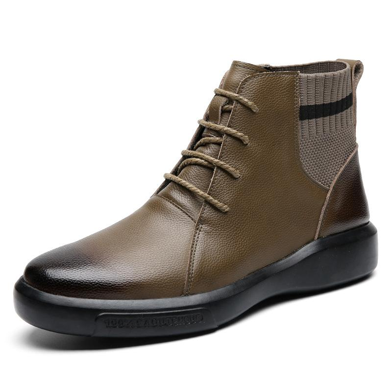 New Autumn Winter Shoes Men Boots Genuine Leather Shoes Fashion Brand Men Ankle Boots Cow Leather Warm Male Footwear A2064