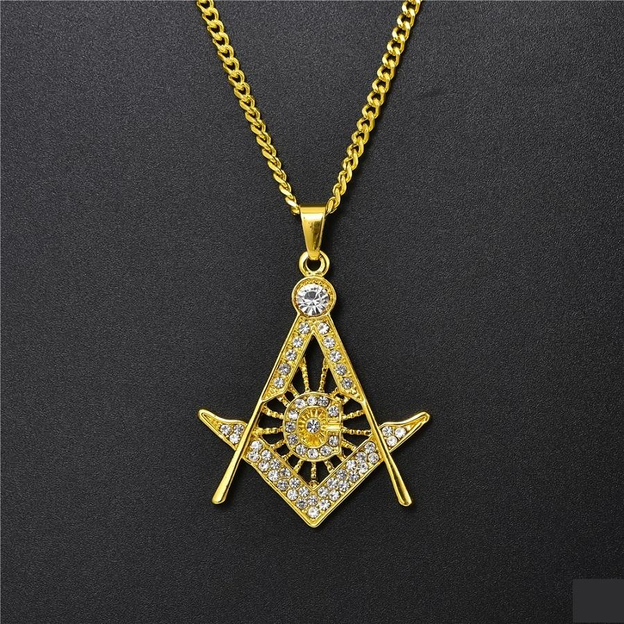 Wholesale Masonic Pendant Gold Necklace Men Hip Hop Jewelry Unique Street Hip Hop Fashion Full Rhinestone Design 60cm Long Chain Punk Necklace For Men Charm Necklace Pendants From Zxr847411163 8 53 Dhgate Com