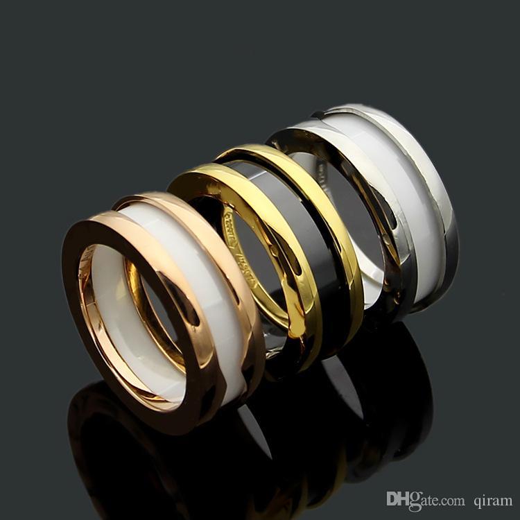 Zurück weiße Keramik 2019 neuen Luxus-Modemarke hochwertige Keramik-Ring Titan Stahl Frauen Charme Liebes Paar Ring Schmuck Großhandel