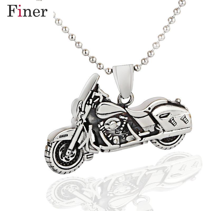 Yeni Trendy Moda Antik Gümüş Renk Motorlu Bisiklet Kolye Kolye Vintage Paslanmaz Çelik Boncuk Boncuk Zincir Takı ile