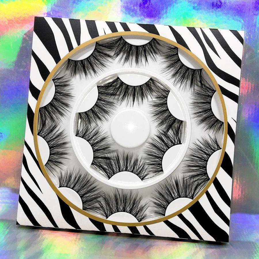 Pestañas de visón 3D Pestañas postizas naturales Extensión de pestañas largas Pestañas postizas falsas Herramienta de maquillaje 8 pares / set RRA1886