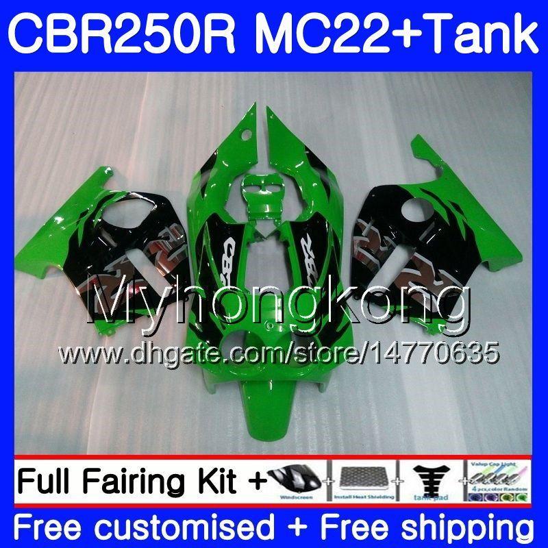 Inyección + Tanque para HONDA CBR 250RR verde negro caliente CBR250 RR 95 96 97 98 99 263HM.36 MC22 CBR 250 CBR250RR 1995 1996 1997 1998 1999 Carenado
