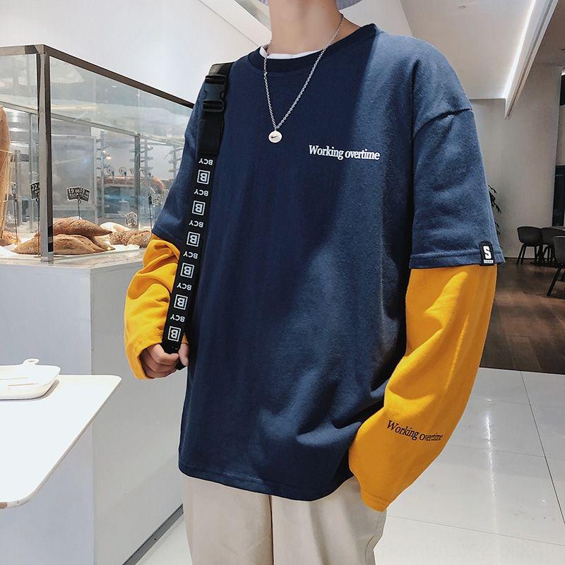 personalidade fashion moda masculina Hoodie ins falsos dois estudantes perder les bonito t hip-hop, sem chapéu