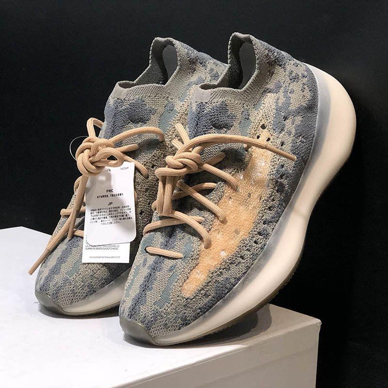 Kanye West 380 V3 extranjeros Generaciones niebla Negro Tres de los zapatos corrientes de hilo tejida Flying Knite calcetín mujeres de los hombres con la caja
