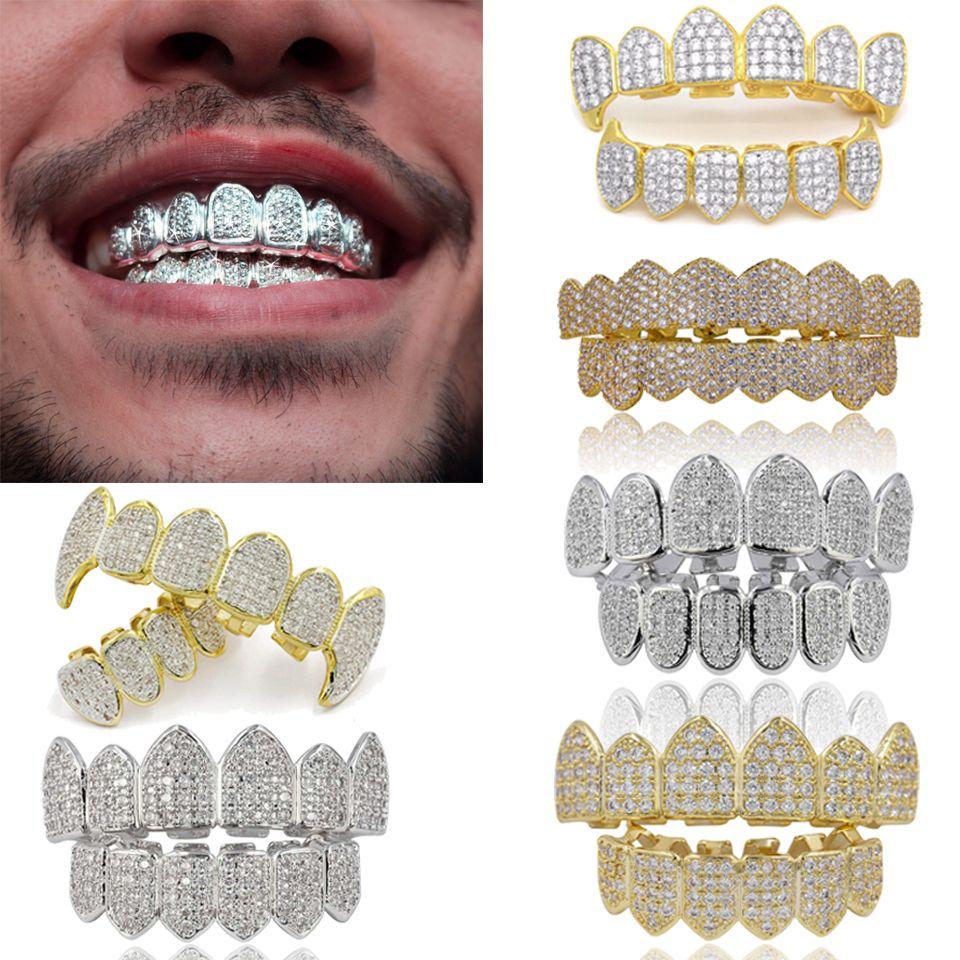 18K الذهب الحقيقي الشرير الهيب هوب مكعب الزركون مصاص الدماء الأسنان فانغ GRILLZ الأسنان الفم الشوايات الحمالات الأسنان كاب مغني الراب مجوهرات للحزب تأثيري