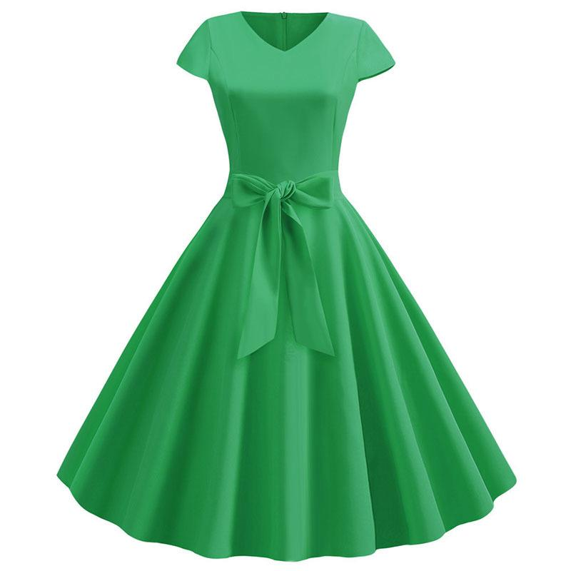 Solid Summer Women Dress Short Sleeve Vintage V Neck Casual Elegant Retro Pin Up Rockabilly Party Midi Dresses Red Plus Size