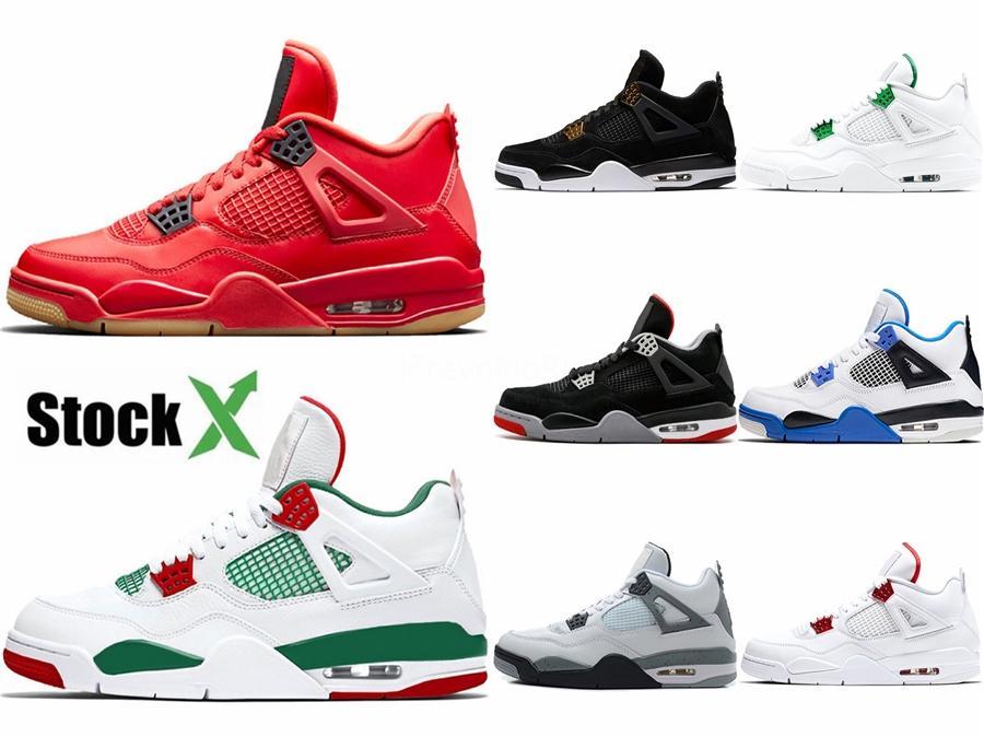 Melhores sapatos de qualidade 4 alta Basquetebol Homens Green Glow Black Cat Raptor Medo bloco fresco Grey Marca 4S Designer Sneakers Sport Shoes # 849