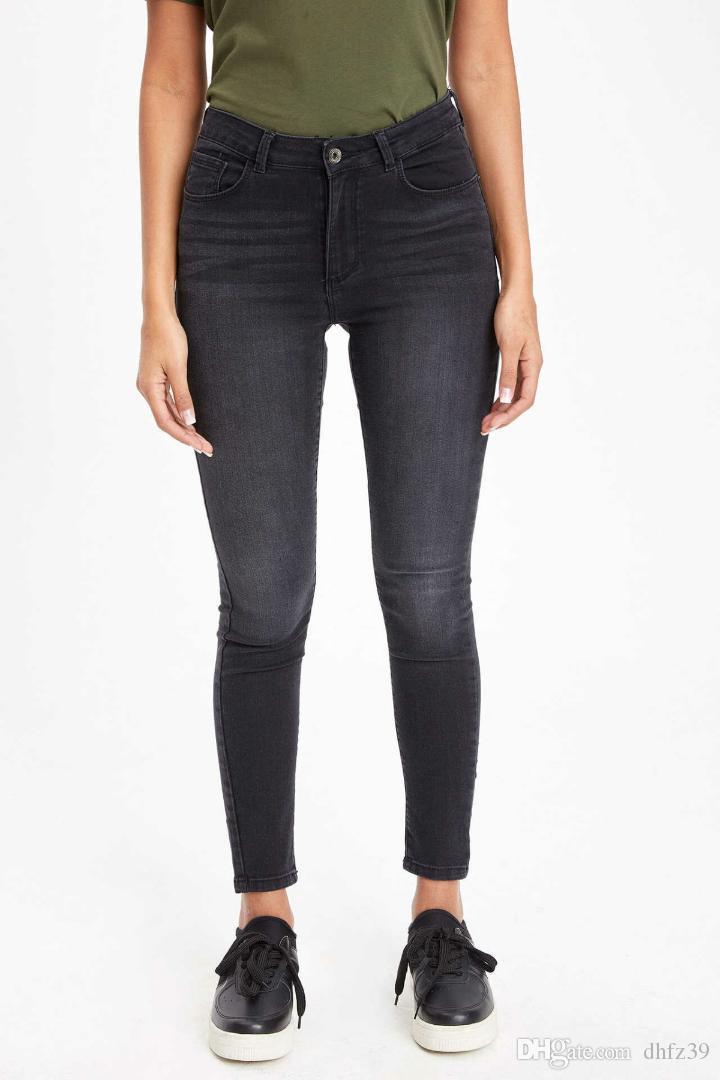 DeFacto gris Mixta lavada Mujeres de mediana cintura flacas Denim Jeans simple nueve minutos pantalones del estiramiento Lápiz Pantalones-J9122AZ19SP