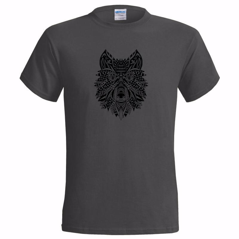 ETHNIC ART HAND DRAWN WOLF MENS T SHIRT URBAN COOL NATIVE GIFT AMERICAN NEW ARRIVAL tees causal summer t shirt cheap whol