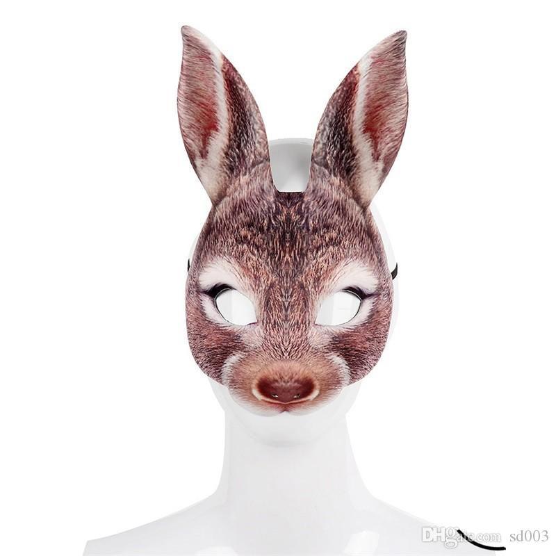 عيد الفصح أقنعة الحيوانات الأرنب EVA كامل الوجه ثلاثة ألوان الرجال والنساء حزب هالوين قناع جديد وصول 6szE1