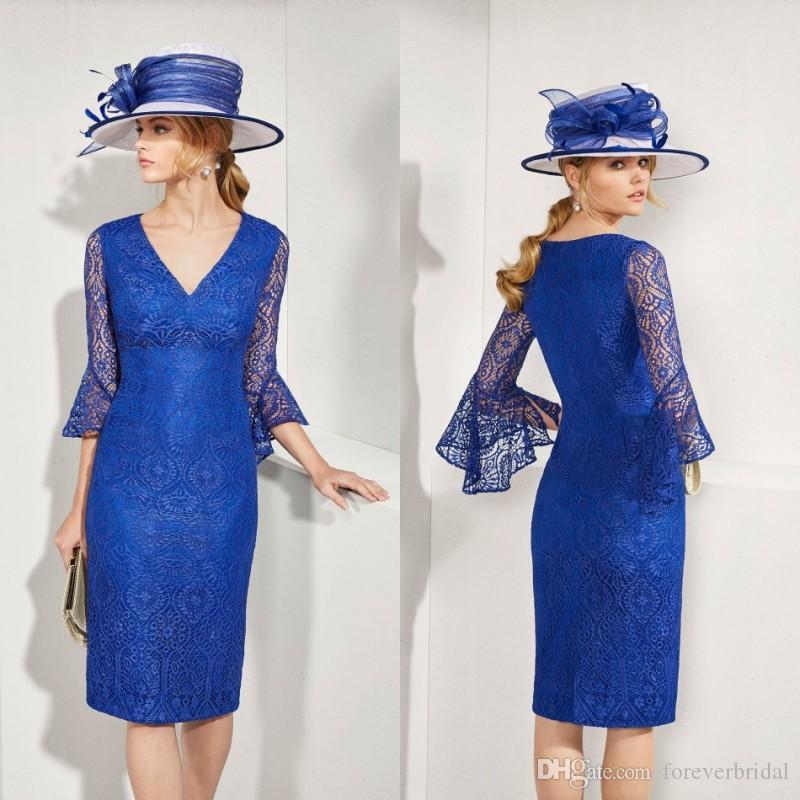 Elegant Blue Mother Of Bride Dresses V Neck Lace Sleeves Mother's Dresses Knee Length Formal Prom Dresses