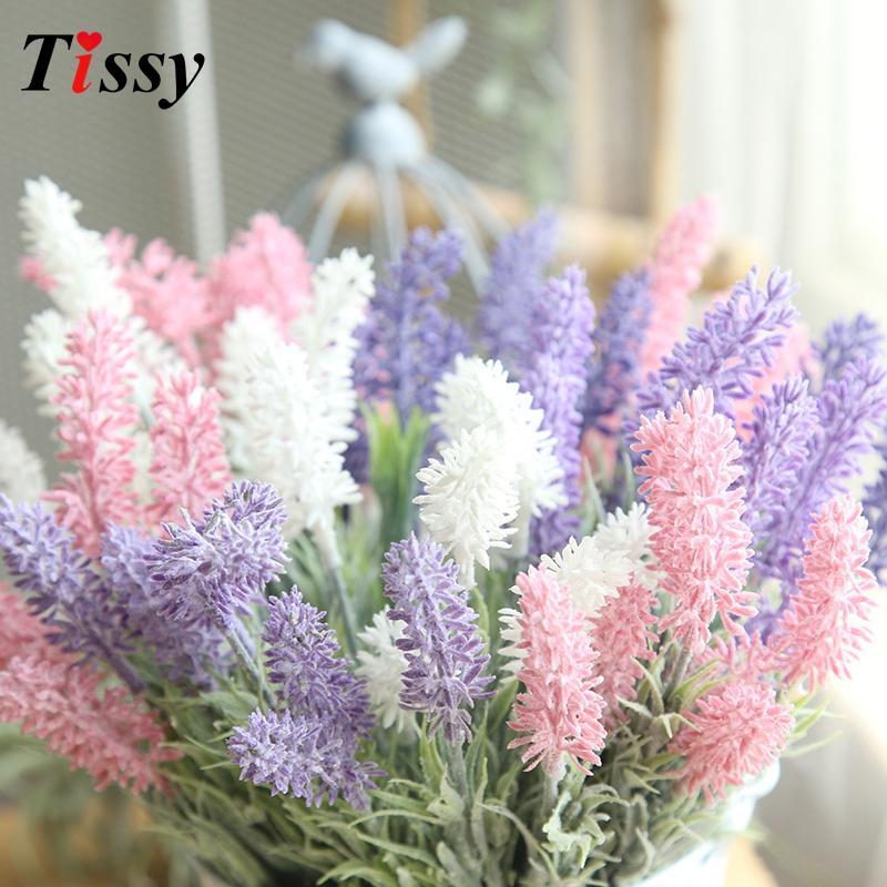 النباتات 3PCS WhitePinkPurple بروفانس لافندر زهرة الحرير الاصطناعي الزهور محاكاة الرئيسية زهرية ديكور زهور الزفاف