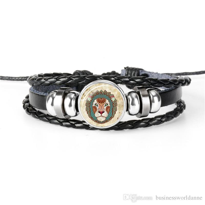 Hot Women Men Multi-layer Leather Rope Beaded Bracelet 2019 New Minimalist Style 12 Constellation Zodiac Leo Time Gem Glass Cabochon Jewelry