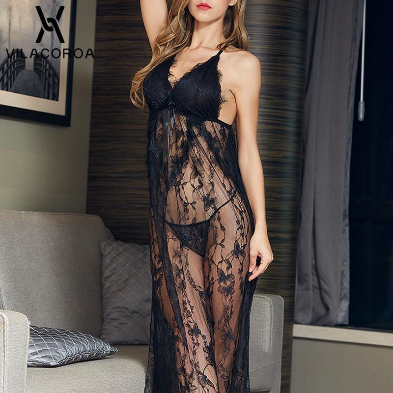 Solide manches camisoles sexy en dentelle Bow perspective de Split nuit Fashion long col en V Backless Nighty de nuit Modis Nightgown V191213