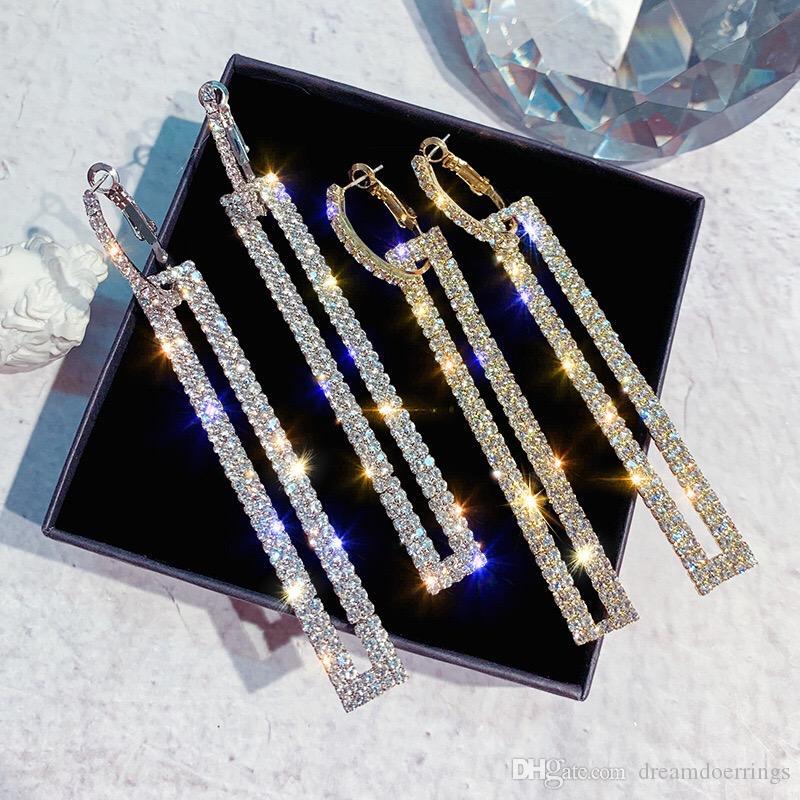 Kadınlar Kızlar Dikdörtgen Şekli Kristal S925 Gümüş iğneler Lüks Tasarımcı Küpe 4 Renk Seçenekleri için Moda Küpe
