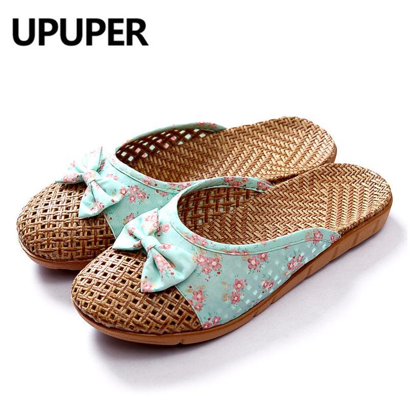 أحذية الصيف النسيج الكتان الرئيسية شباشب الفلاح نمط منعش المرأة لطيف القوس النسيج تنفس الصنادل شقة الشرائح