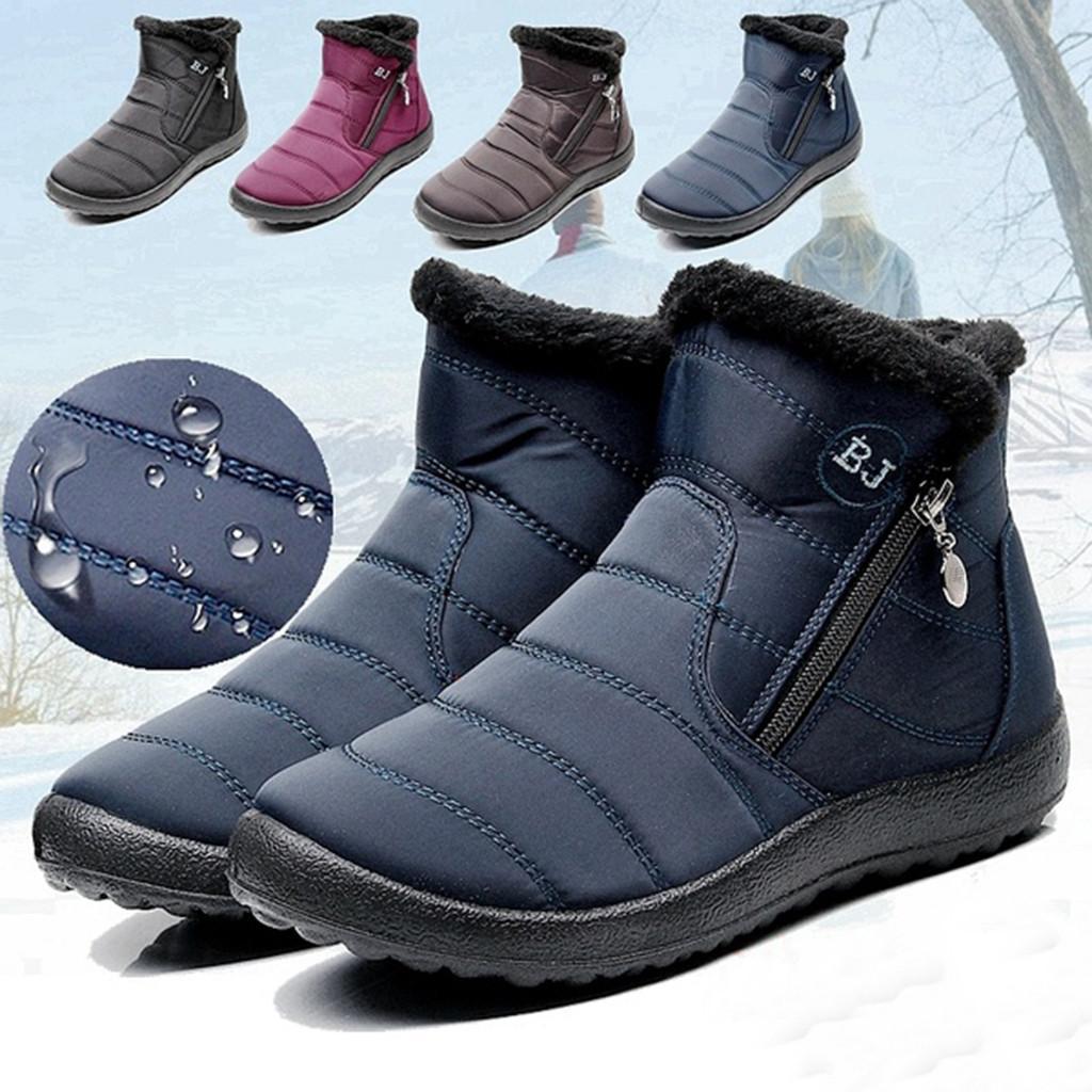 Naylon su geçirmez kar botları Kadın Kış Sıcak Platformu Pamuk Ayak bileği patik Artı boyutu 35-43 yan fermuar Kısa Ayakkabı Botaş