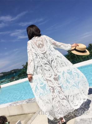 استخدام أنثى شالات مطرزة معطف طويل رقيقة على شاطئ البحر ويمنع تشمس في الملابس التي سترة الدانتيل ملابس السباحة