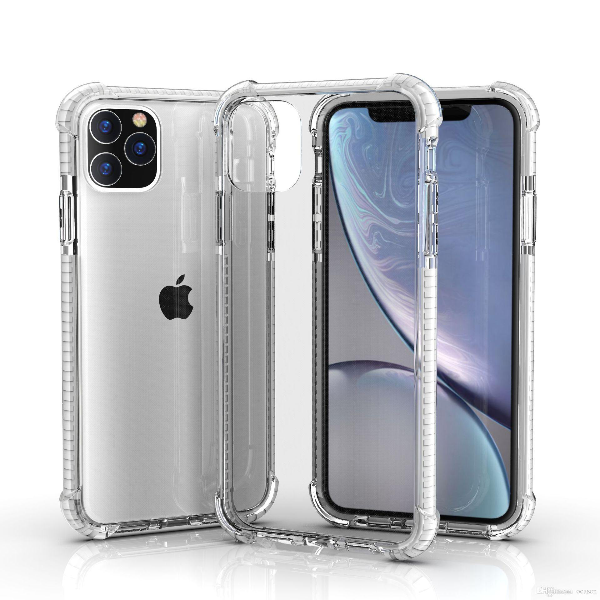 A prueba de golpes híbridos duales Colores transparente de TPU Acrílico cubierta del estuche rígido para el iPhone 11 Pro XS MAX XR 6 7 8 Plus