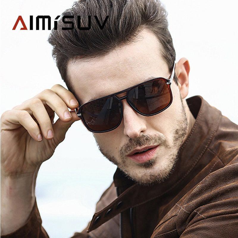 AIMISUV Squar Güneş gözlüğü Erkekler Polarize Ayna Sürüş Güneş Gözlükleri Man Marka Boy Retro Gözlükler UV400