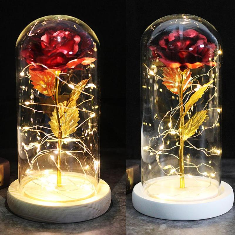 Colour Red Rose In A Glass Dome On A Wooden Base For Valentine's Gifts LED Rose Lamps Christmas