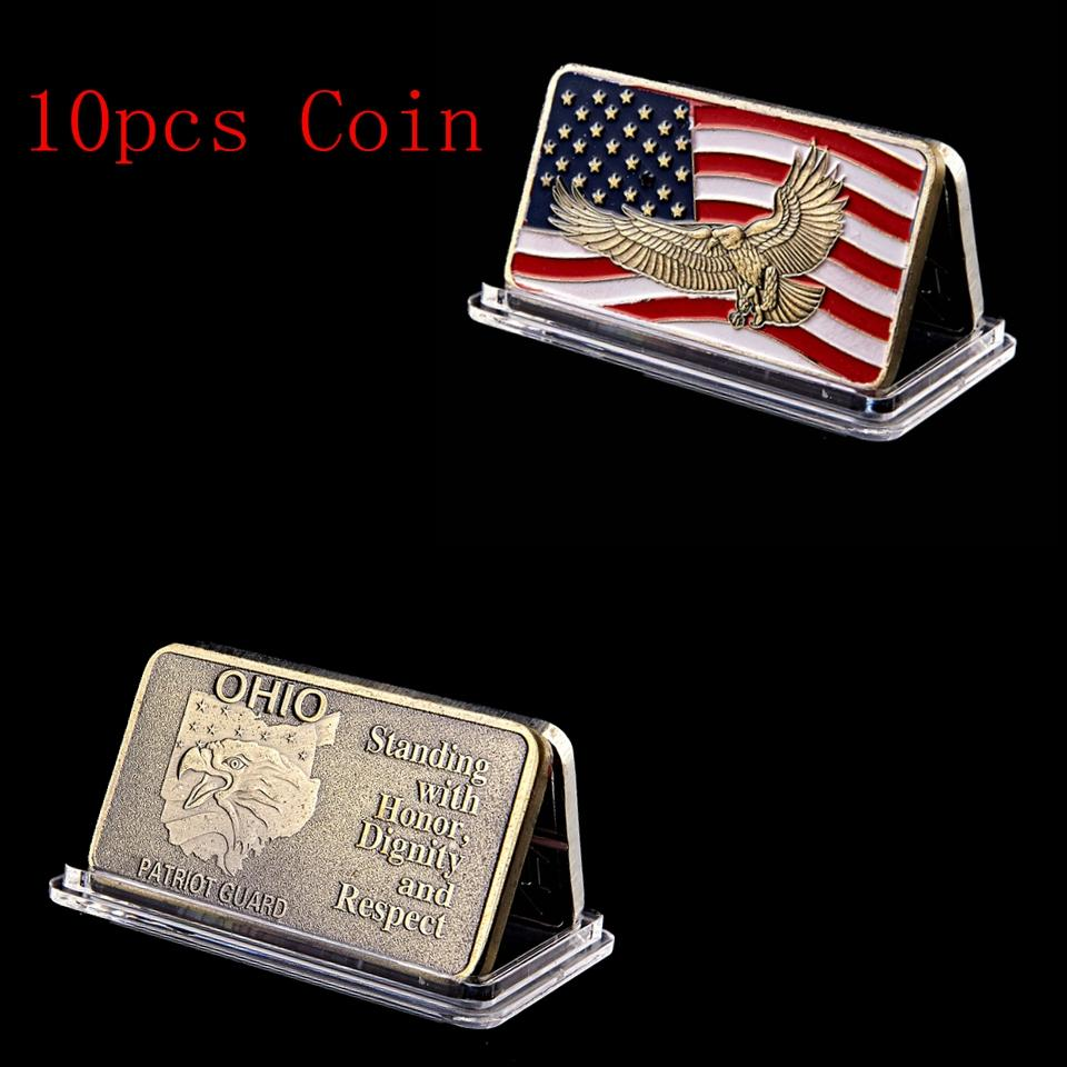 10pcs Free Shipping Ohio Standing With Honor Dignity Respest Patriot Guard American Eagle Flag 1oz Gold Plated Commemorative Coin