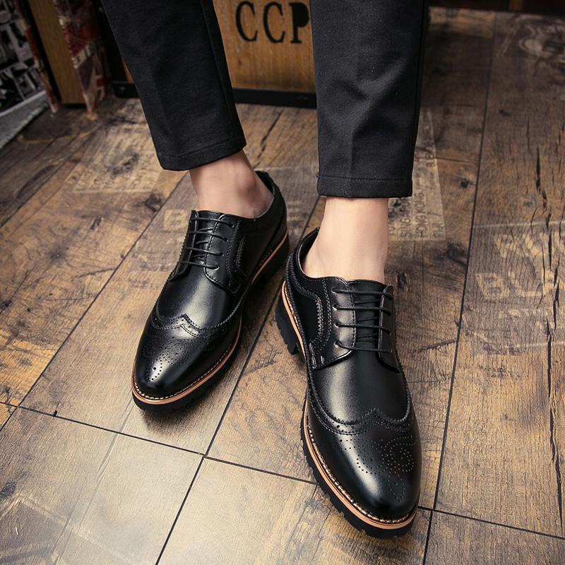 Basic Hommes Chaussures en cuir britannique Microfibre affaires Driving Casual Lace Up respirant Outdoor Comfy Mode Printemps doux% 987