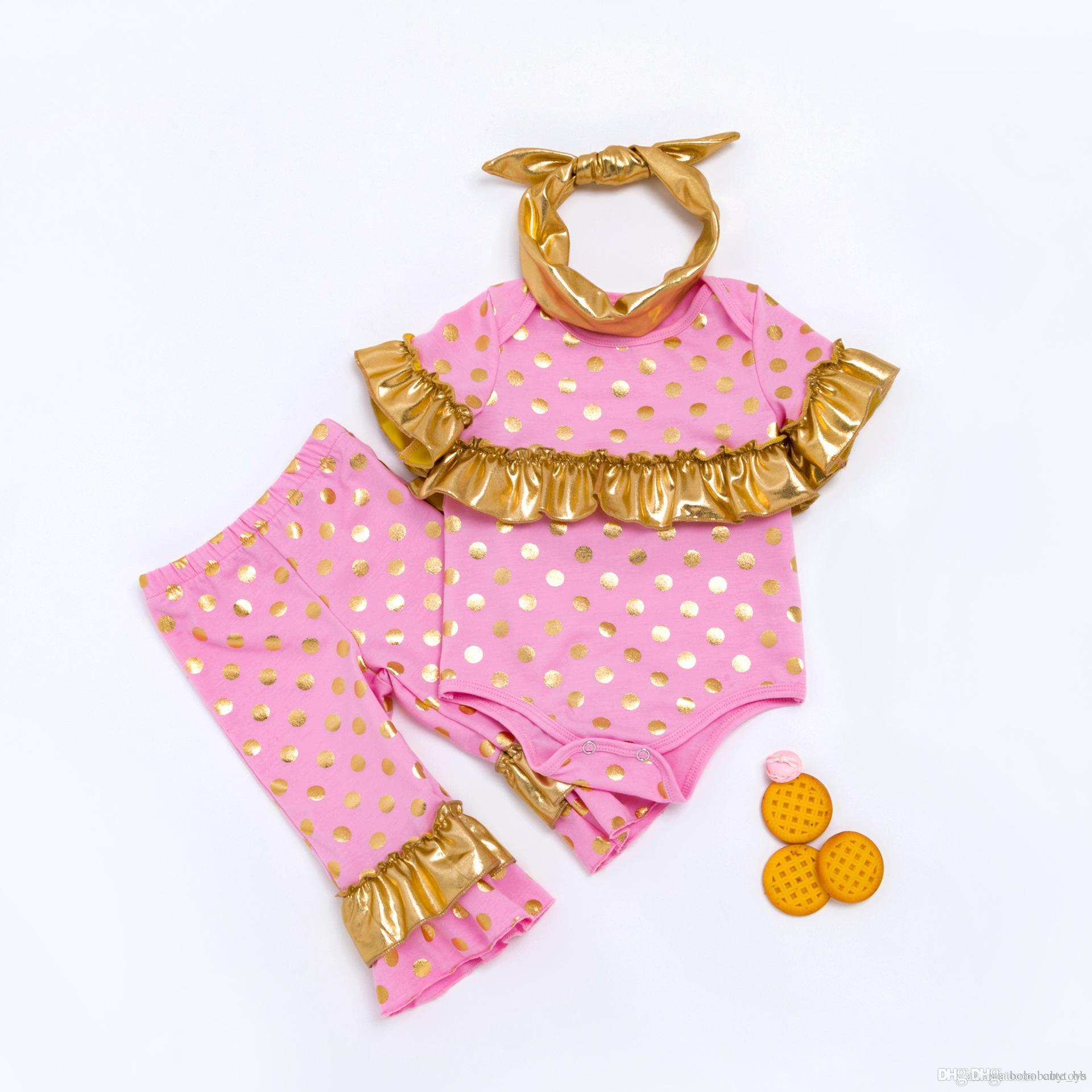 الوليد طفلة الخريف الملابس مجموعات 0-18M الرضع مصمم الأسود الترتر الكشكشة الدعاوى القطن رومبير سروال العصابة 3PCS / مجموعة B282