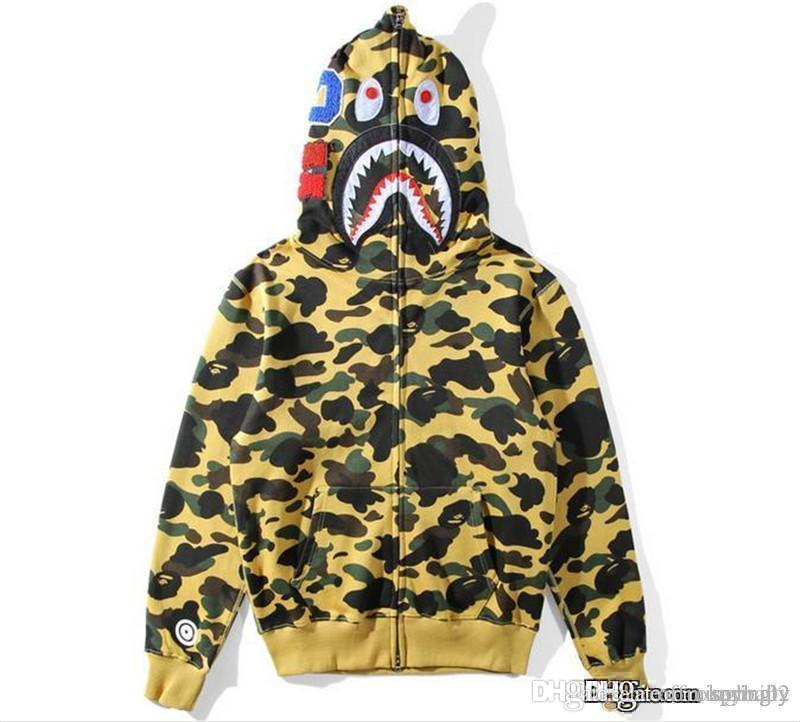 2017 г. Горячий BAPSE Купание Ape Hoodie потеет Camo Мужская Shark Head Full Zip Coat Jacket64634