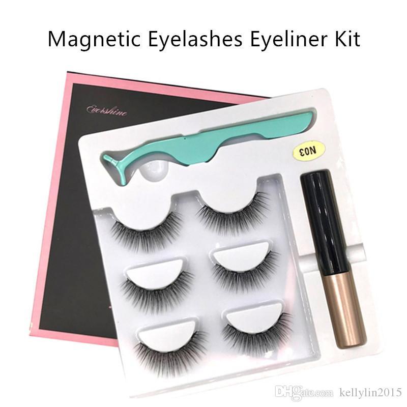 Magnetic Liquid Eyeliner Eyelashes Kit 3 pairs False Eye lashes 5 Magnet Eye liner Clip Handmade Makeup Magnetic Eyelashes Set