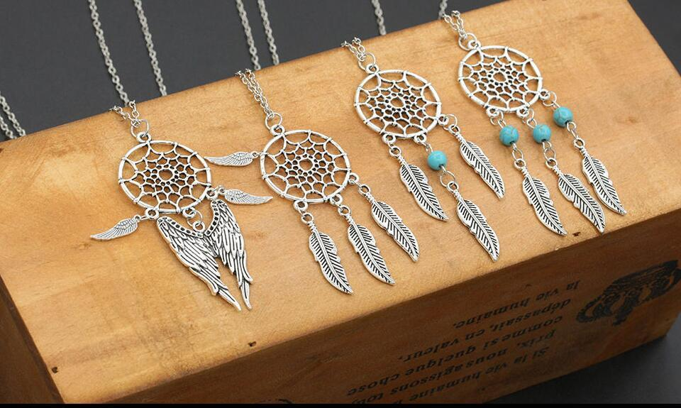 6 Style Dream Catcher Necklaces Dreamcatcher Necklace Pendant Opal Bead Tassels Plume Feather Choker Vintage Silver Women Jewelry Gift