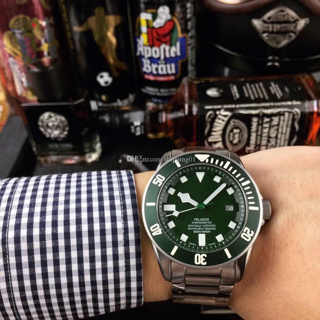 녹색 세라믹 남성의 새로운 자동 시계 스테인리스 자동 기계 남성 시계