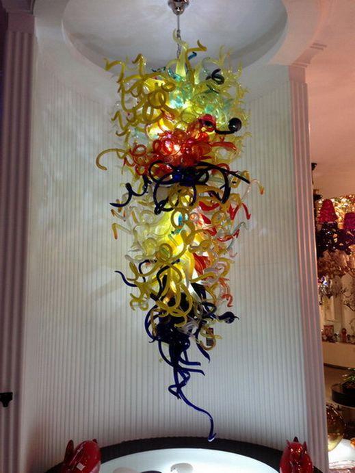 100% soplado a mano la lámpara de cristal del techo de luz de alta techo de cristal arte decorativo personalizado con alta calidad