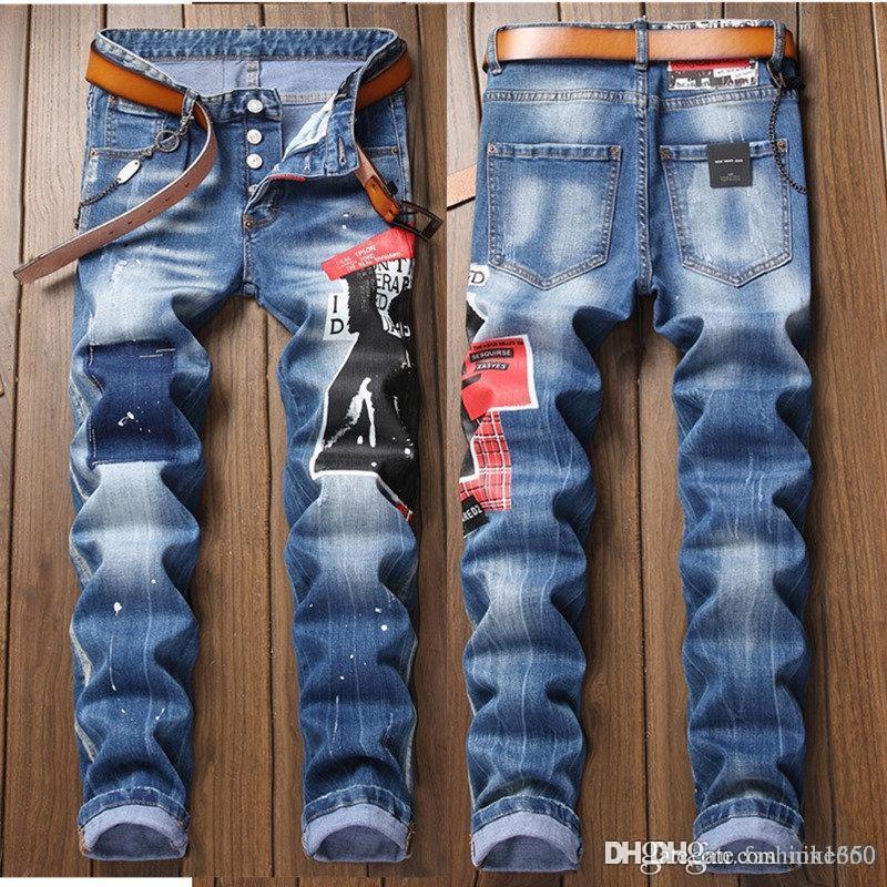 2020 Calle Moda Hombres Jeans Vintage recto apto destruido rasgado Hip Hop Jeans Homme punk pantalones de los hombres clásicos