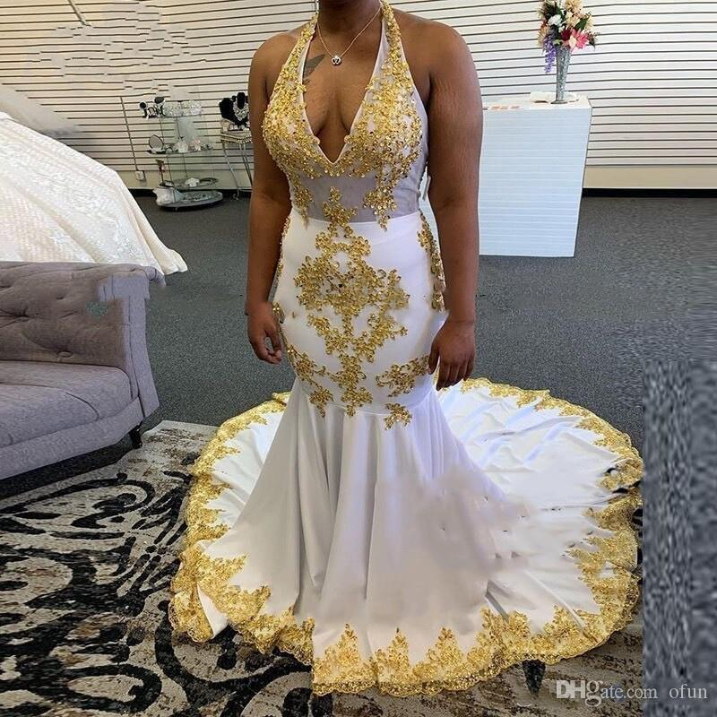 Newest Sexy White Mermaid Prom Dresses With Gold Appliques Halter Neck Sweep Train Elastic Satin Black Girls Evening Party Gowns Vestidos